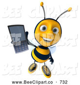 Clip Art of a Happy 3d Bee Holding out a Cell Phone by Julos