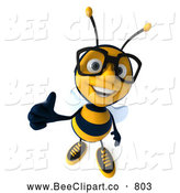 Clip Art of a Happy 3d Bee Wearing Glasses and Holding a Thumb up by Julos