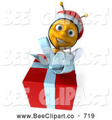 Clip Art of a Happy 3d Christmas Bee Holding a Gift by Julos