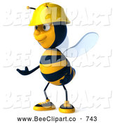 Clip Art of a Happy 3d Worker Bee Facing Left and Gesturing by Julos
