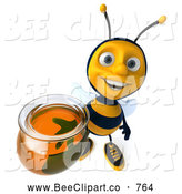 Clip Art of a Happy and Smiling 3d Bee Character Holding Honey by Julos