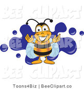Clip Art of a Happy Bee and Blue Splatters by Toons4Biz