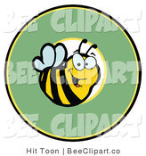 Clip Art of a Happy Bee in a Circle by Hit Toon