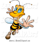 Clip Art of a Happy Honey Bee Dancing and Flying by Dero
