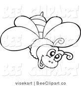 Clip Art of a Happy Outlined Bee by Visekart
