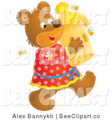 Clip Art of a Happy Teddy Bear Carrying a Bee Hive, Surrounded by Bees by Alex Bannykh