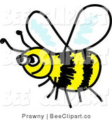 Clip Art of a Happy Yellow and Black Flying Honeybee by Prawny