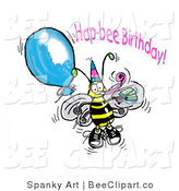 Clip Art of a Happy Yellow Honey Bee Wearing a Party Hat and Holding onto a Blue Balloon at a Birthday Party by Spanky Art