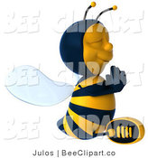 Clip Art of a Meditating 3d Bee Mascot by Julos