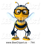 Clip Art of a Nerdy 3d Bee Wearing Glasses and Pouting by Julos