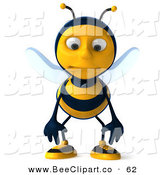 Clip Art of a Nervous 3d Bee Character Standing and Pouting by Julos