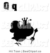 Clip Art of a Queen Bee and Letter Q Silhouette by Hit Toon
