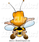 Clip Art of a Rear View of a Bee Flying Away by Dero