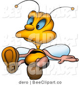 Clip Art of a Relaxed Little Yellow Bee Laying on the Ground by Dero