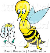 Clip Art of a Sad and Depressed Honeybee Staring at a Wilting Daisy Flower by Paulo Resende