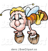 Clip Art of a Sad Worker Bee Carrying Two Pails by Dero