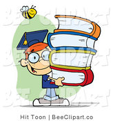 Clip Art of a Smart School Boy Carrying Books with a Bee by Hit Toon