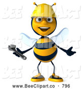 Clip Art of a Smiling 3d Bee Character Holding a Wrench by Julos