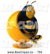 Clip Art of a Smiling 3d Bee Character in a Chair by Julos