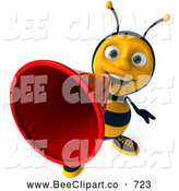 Clip Art of a Smiling 3d Bee Character Making an Announcement by Julos