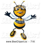 Clip Art of a Smiling 3d Bee Character Wearing Glasses and Jumping by Julos