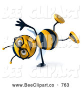 Clip Art of a Smiling 3d Bee Wearing Glasses and Doing a Cartwheel by Julos