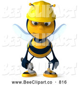 Clip Art of a Smiling 3d Worker Bee Character Pouting by Julos