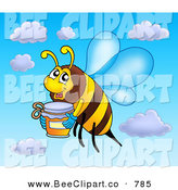 Clip Art of a Smiling Flying Bee with a Jar of Honey by Visekart