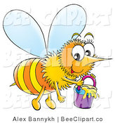 Clip Art of a Smiling Honeybee Carrying a Pail of Honey by Alex Bannykh