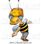 Clip Art of a Sneaky Blue Eyed Bee Looking Back over His Shoulder by Dero