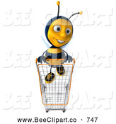 Clip Art of a Stylish Friendly 3d Bee Shopping by Julos