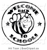 Clip Art of a Welcome Back to School Bee Circle in Black and White by Hit Toon