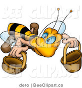 Clip Art of a Worker Bee Carrying Two Buckets by Dero