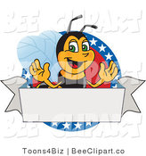 Clip Art of a Worker Bumble Bee Character Logo Mascot on a Patriotic Star Circle by Toons4Biz