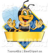 Clip Art of a Worker Bumble Bee Character Logo Mascot over a Blank Banner on a Blue Diamond by Toons4Biz