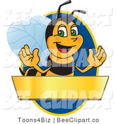 Clip Art of a Worker Bumble Bee Character Logo Mascot over a Blank Banner on a Blue Oval by Toons4Biz