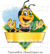 Clip Art of a Worker Bumble Bee Character Logo Mascot over a Blank Banner on a Green Diamond by Toons4Biz