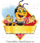 Clip Art of a Worker Bumble Bee Character Logo Mascot over a Blank Banner on a Red Diamond by Toons4Biz