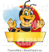 Clip Art of a Worker Bumble Bee Character Logo Mascot over a Blank Banner on a Red Oval by Toons4Biz