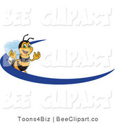 Clip Art of a Worker Bumble Bee Character Logo Mascot with a Blue Dash by Toons4Biz