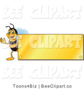 Clip Art of a Worker Bumble Bee Character Logo Mascot with a Gold Plaque by Toons4Biz
