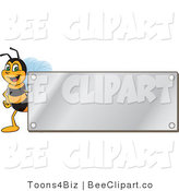 Clip Art of a Worker Bumble Bee Character Logo Mascot with a Silver Plaque by Toons4Biz