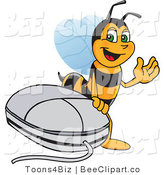 Clip Art of a Worker Bumble Bee Character Mascot by a Computer Mouse by Toons4Biz
