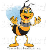 Clip Art of a Worker Bumble Bee Character Mascot by Toons4Biz