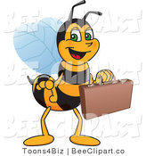 Clip Art of a Worker Bumble Bee Character Mascot Carrying a Briefcase by Toons4Biz