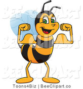Clip Art of a Worker Bumble Bee Character Mascot Flexing by Toons4Biz