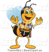 Clip Art of a Worker Bumble Bee Character Mascot Handyman by Toons4Biz
