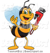 Clip Art of a Worker Bumble Bee Character Mascot Holding a Monkey Wrench by Toons4Biz
