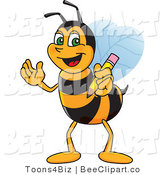 Clip Art of a Worker Bumble Bee Character Mascot Holding a Pencil by Toons4Biz