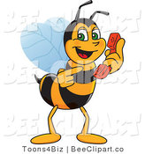 Clip Art of a Worker Bumble Bee Character Mascot Holding a Phone by Toons4Biz